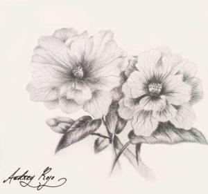 dessin de fleurs noir et blanc