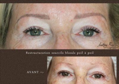 Sourcils blonds en maquillage permanent