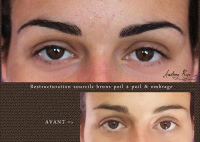 Sourcils bruns en maquillage permanent