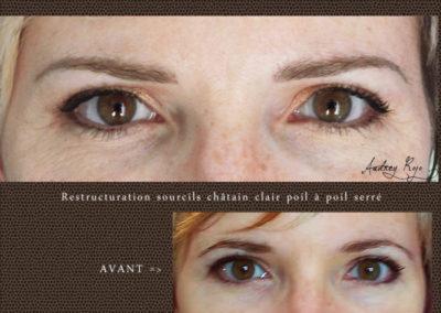 Maquillage permanent sourcils châtain clair effet poils